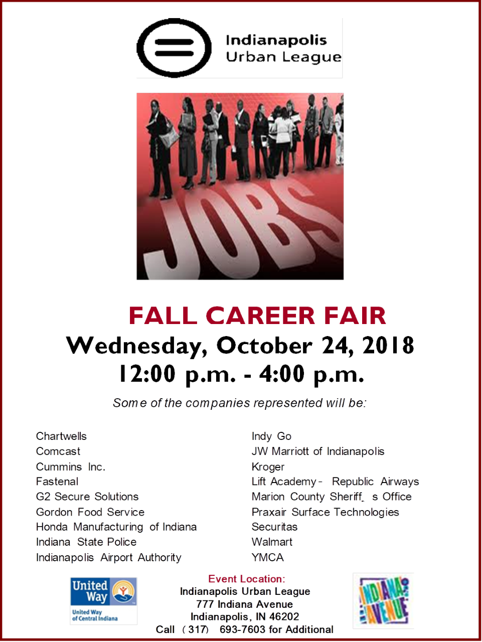 Join The Indianapolis Urban League For Their Fall Career Fair On Wednesday October 24th From Noon To 4 Pm