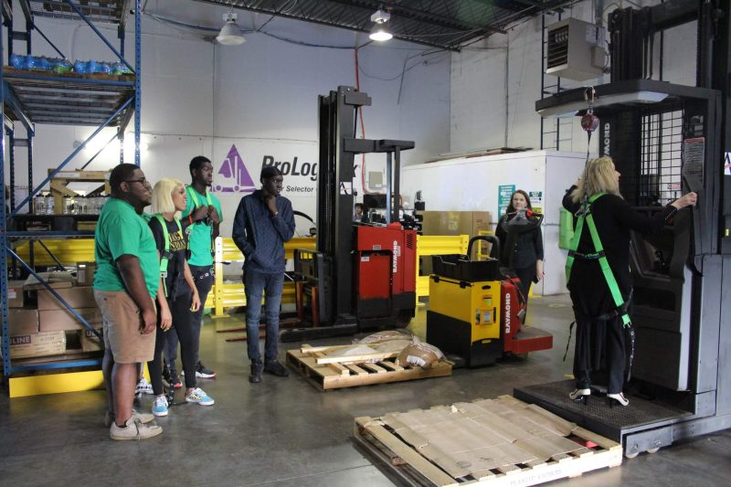 Students learn about forklift operation at ProLogistix